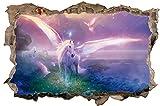 DesFoli Einhorn Pegasus 3D Look Wandtattoo 70 x 115 cm Wanddurchbruch Wandbild Sticker Aufkleber D479