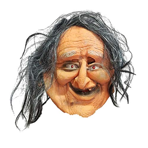 Scary Old Woman Maske mit Haaren für Männer Frauen Erwachsene Kinder Halloween Party Decor Kostüm Requisiten (Beängstigend Womens Kostüm)
