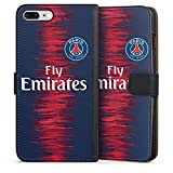 DeinDesign Apple iPhone 8 Plus Étui Étui Folio Étui magnétique Paris Saint Germain Produit sous Licence Officielle Maillot PSG