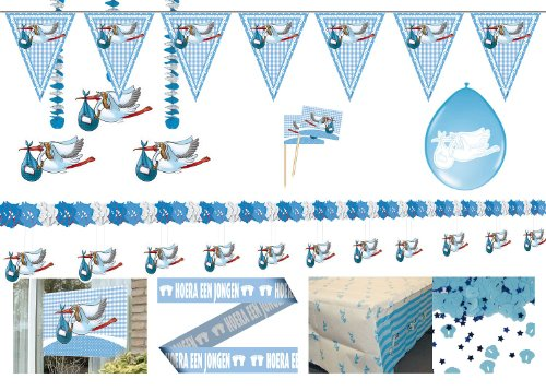 Partyset 00230 Partydekoration Baby Party Taufe Junge blau