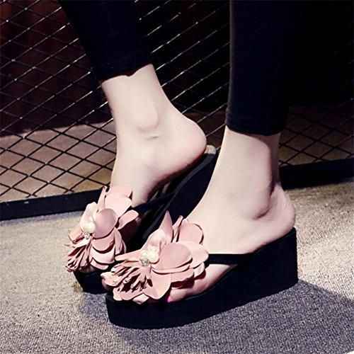 pengweiLadies Summer Flowers Beach scarpe pattini a spina di pesce ad alti talloni e piedini freschi ispessiti a piedini freddi 3