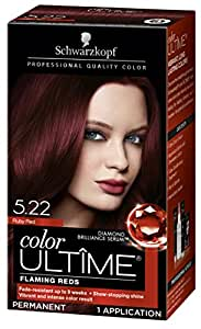 Ruby Red 5.22 , Ultime Hair Color : Schwarzkopf Ultime Hair Color Cream, 5.22 Ruby Red, 2.03 Ounce