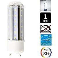 Bombilla LED GU24 de 8 W con base de enchufe GU24, color blanco suave, 1 unidad