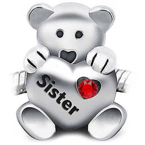 Teddy Bär Charm Bead hält ein rotes Herz in Schwester 925Sterling Silber–Für Pandora, Biagi und Troll Armbänder