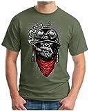 OM3 - Gorilla-of-Duty - T-Shirt Smoking Monkey Biker Ape MC Rocker Motor Army Navy War Swag, XXL, Oliv