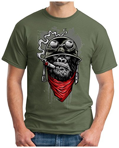 OM3 Gorilla-of-Duty - T-Shirt Smoking Monkey Biker Ape MC Rocker Motor Army Navy War Swag Oliv