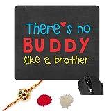#6: Rakhi Gifts for Brother with Rakhi, Printed Buddy Brother Mousepad, Rakhi, Roli-Chawal by TheYaYaCafe
