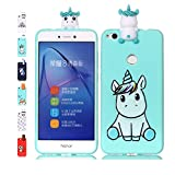 Funda Huawei P10 Lite Unicornio Verde Claro Transparente Squishy Kawaii Juguete Toy Animal Silicona TPU Clear Transparente Gel Bumper Shell Back Cover Inquebrantable Carcasa Cute para Chicas