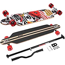 Longboard Skateboard MARONAD drop through Race Cruiser ABEC-11 Skateboard 104x24 cm Streetsurfer patinar FUN, Modell Streetsurfer - Sattelite + MARONAD STICK