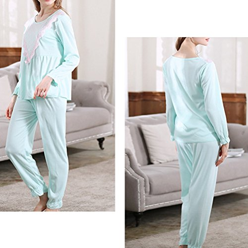 Zhhlaixing Woman Round neck Long Sleeve Nightwear Casual Sleepwear Pyjamas Two Piece Set Green