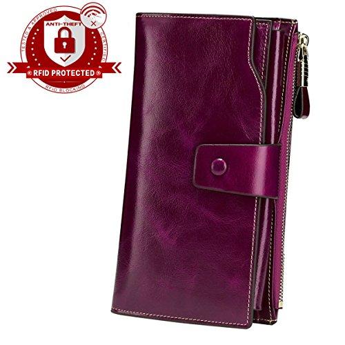 Diva Clutch Wallet (lecxci  long wallet,  Damen-Geldbörse violett Purple RFID Blocking Large)