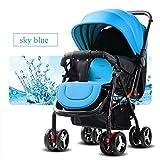 QXMEI Kinderwagen Sicherheit und Pflege 4 Räder Faltbare Einstellbare Kinderwagen Liegende Kindertrolley,SkyBlue