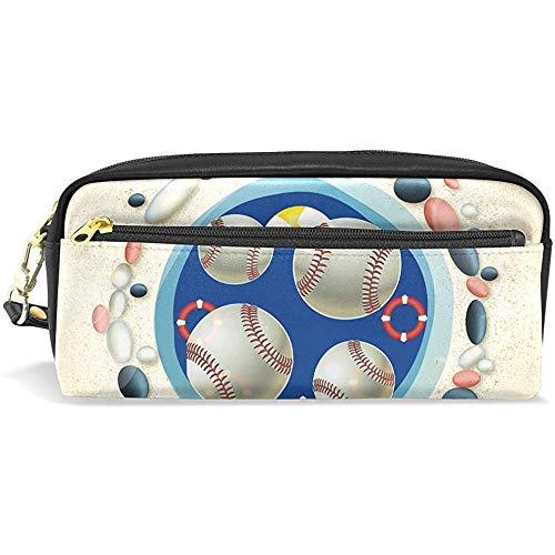Baseball Strand Leder Student Federmäppchen Kosmetik Stift Tasche Make-up Tasche für Teen Girl