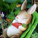 Libx Decoración jardín-Placa de Madera, Lindo y Divertido Conejo Resistente a la Intemperie Resina Encanto-para el hogar, Patio, jardín 22x 12x 12cm