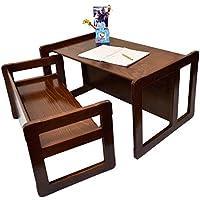 3 in 1 Multifunktionales Kindermöbel Set Bestehend Aus einem Multifunktionalen Kindertisch und eine Multifunktionale Kindersitzbank oder ein Multifunktionales Nest von zwei Couch- Beistelltischen für Erwachsene, aus Massivem Buchenholz Dunkel Lackiert - preisvergleich