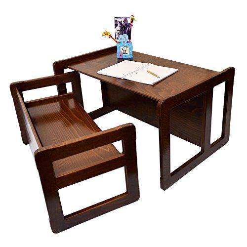 3 en 1 Muebles Multifuncional Para Niños Conjunto De Una Mesa Multifuncional y Un Banco Multifuncional o Para Adultos, Nido de Dos Mesas de Café Multifuncionales, Madera de Haya Maciza Barnizado Oscuro