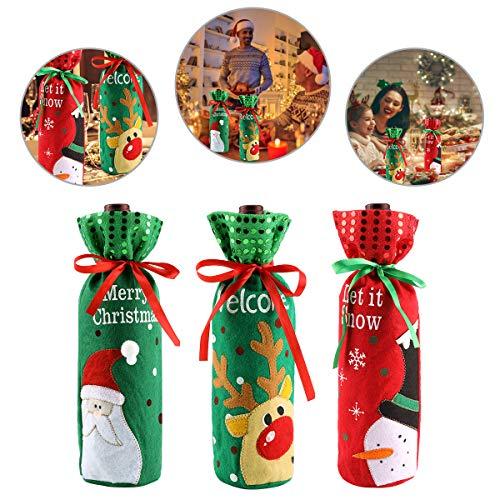 PHOGARY 3pcs Pochettes de Noël pour Bouteille de Vin,Bouteille de Vin Emballage Cadeau À Cordon Motif Père Noël, Renne, Bonhomme de Neige Décoration de Table.