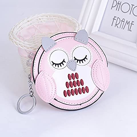 MZP Handmade Sewing Leather Owl Keychain Zero Portfolio Keypack Fashion Bag Fashion Bag Pendant , pink owl