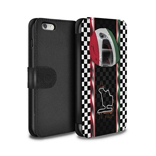 STUFF4 PU-Leder Hülle/Case/Tasche/Cover für Apple iPhone 6 / Italien/Monza Muster / F1 Piste Flagge Kollektion Ungarn/Budapest
