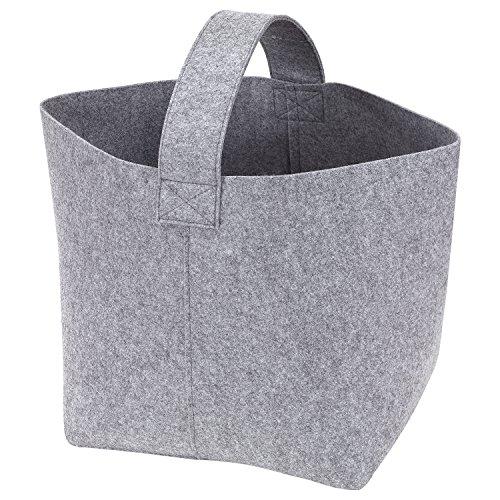*Kaminholztasche Filz Tasche 36x40x40 cm grau – Magazinhalter Zeitschriftentasche*