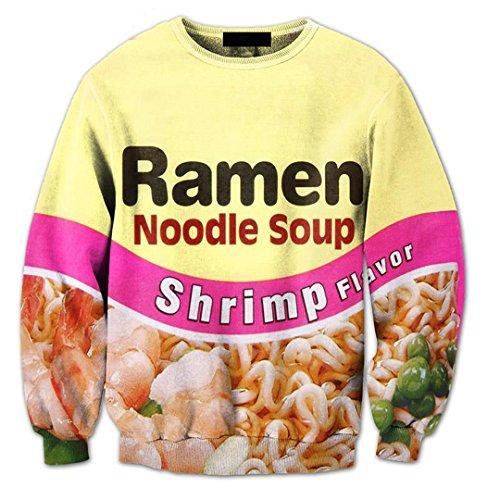 WEPTANSES Hosen Shrimp Ramen Essen 3D Over Print Trainingsanzüge Sweatshirts Hipster Casual Kordelzug Hosen Sportwear Frauen Männer SPW XL (Onesies Für Junioren)