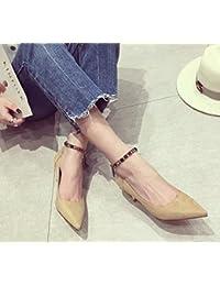 Olici MDRW-Lady Elegante Trabajo Ocio Muelle Una Multa De 7Cm Suede Tacones  Boca Superficial Palabra Diamante Zapatos… 50021f2a5281