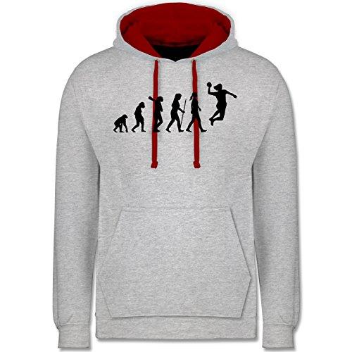 Evolution - Handball Evolution - Kontrast Hoodie Grau Meliert/Rot