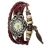 Lightinthebox@ Charm Women's Watch Bohemian Leaf Pendent Leather Weave Bracelet Quartz Wristwatch
