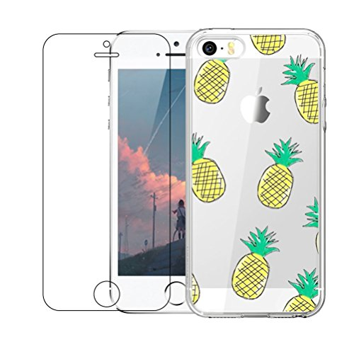 iPhone 5 / 5S / SE Hülle mit Hartglas Displayschutz, Blossom01 Cute Funny Kreative Cartoon Transparent Silikon Bumper für iPhone 5 / 5S / SE - Ananas