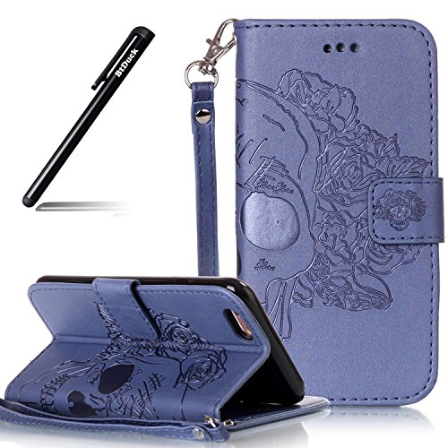 Cover per iPhone 7 4.7 Fiori Custodia,BtDuck Ultra Sottile PU Pelle Shell Disegno Mandala Datura fiori Retro protettivi Bumper Covers Caso per iPhone 7 4.7 Chiusura Magnetica Snap-on ID Carte di Credi #C Blu