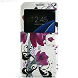 View Window Cuir Etui Coque Housse per Samsung Galaxy S7 G9300 Smartphone, Yihya Mince Flip Folio PU Leather Wallet Case Protection Portefeuille Slim Stand Cover avec Stylus Pen--Purple Lotus