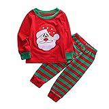 Natale Unisex Vestiti Stampa Dinosauro Ragazzi Ragazze Cime & Pantaloni Natalizi Pigiami Abiti Set (Rosso #1, 3 Anni)