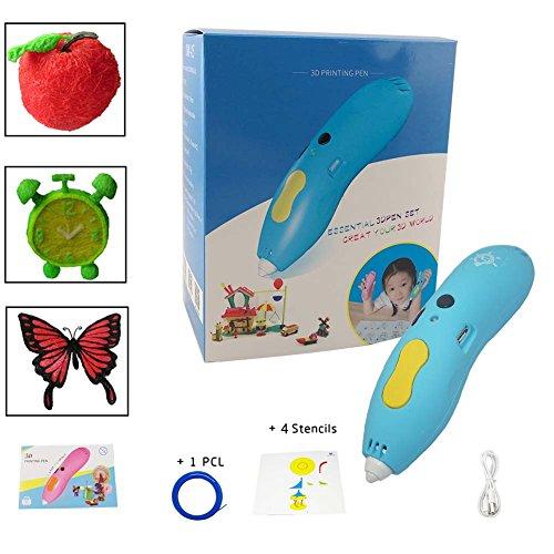 Drahtloser 3D Stift - Niedrige Temperatur, Unter Verwendung von PCL-Filamenten / Mehr Sicher, Lustiger, Bequemer / GAMA 3D Stift GM-W3P-01 / Erstaunliches Geschenk für Kinder.