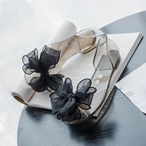 Transparente Sandalen ,Kaiki Sommer Frauen Bogen Blume Gelee Strand Sandalen Flip Flops flache Schuhe Hausschuhe Black