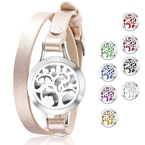 Acciaio inossidabile, diffusore di oli essenziali aromaterapia medaglione bracciali in pelle Band con 8pastiglie di colore, donna gioielli regalo set