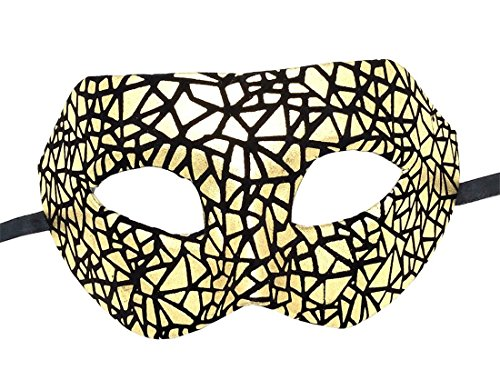 Flywife Herren Maskerade Maske Leder Kariert Retro Venezianisch Party Ball Römisch Halloween Mardi Gras Karneval Maske (Gold Unregelmäßige Grafiken)
