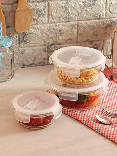 Femora Borosilicate Round Glass Food Storage Container With Air Vent Lid-Set Of 3 Pcs - 380ML, 580 ML, 940ML