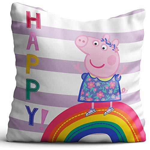 BERONAGE Peppa Pig Cuscino Happy 40 x 40 cm - Cuscino Decorativo per Auto - Cuscino da coccolare Rosa Smile Sunny Mama Wutz Papa Wutz George Wutz Doktor Elefante Donna Mümmel