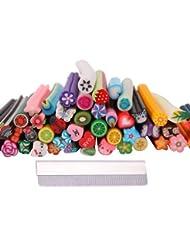 outils a ongles - SODIAL(R) 50 Pcs Mignons Designs Nail Art Fimo Canes Batons Autocollants Gel Tips 3D Decoration DIY + Lame