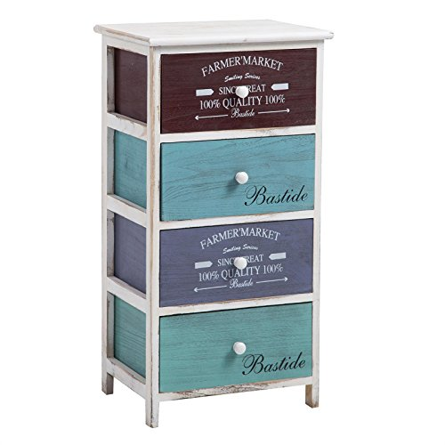 CARO-Möbel Kommode Mehrzweckschrank Schubladenkommode COLORIS in weiß, Anrichte mit 4 Schubladen in 3 Farben, Shabby Chic Vintage Look