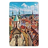 BagsPillow Bathroom Bath Rug Kitchen Floor Mat Carpet,Cityscape,Scenic Summer View of The Old Town Prague with Sky Europe Heritage Art Deco,Multi,Flannel Microfiber Non-Slip Soft Absorbent