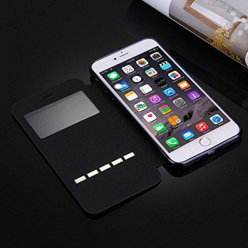 Phone case & Hülle Für iPhone 6 Plus / 6s Plus, Cross Texture Galvanisieren TPU Back Cover Horizontale Flip Leder Tasche mit Call Display ID ( Color : White ) Black
