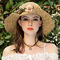 Sunbohljfjh Weiblicher Sommerstrand des Girlandenstrohhutfrauen-Sommerstrandhutes große Hutvisierfrau, die Grasfarbe 52 * 57cm faltet