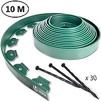 VOUNOT Bordo Giardino Flessibile, Bordi Aiuole Plastica, con 30 Chiodi di Fissaggio, Lunghezza 10m, Altezza 5cm, Verde