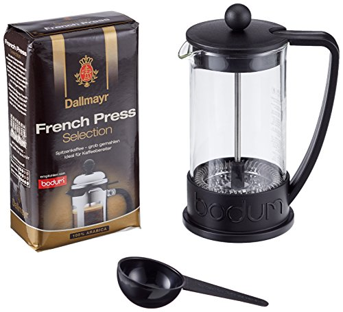 Dallmayr French Press Selection Kaffee, Bodum Brazil Kaffeebereiter, gemahlen 250g, 1er Pack