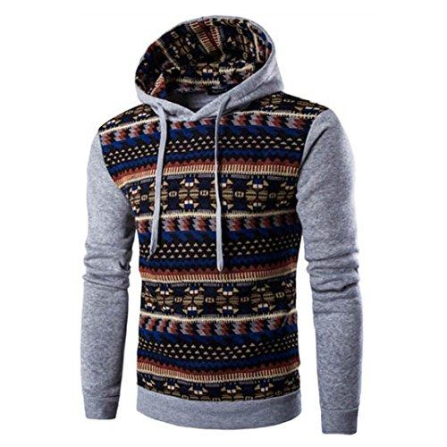Zolimx Männer Herren Retro Hoodie Kapuze Sweatshirt Jacke Mantel (XL, Grau)