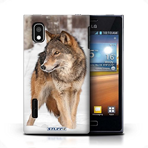 KOBALT® Hülle Case für LG Optimus L5/E610 | Krokkodil/Alligator Entwurf | Wilde Tiere Kollektion Wolf