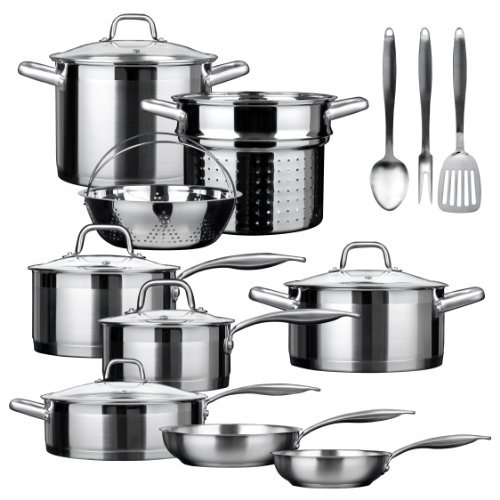 Duxtop SSIB Stainless Steel Induction Cookware Set, Impact-bonded Technology (17 Pieces)