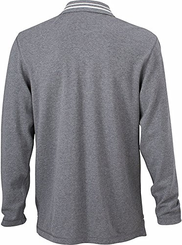 Herren Langarm-Poloshirt im digatex-package grey-melange/off-white