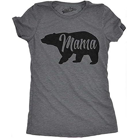 Crazy Dog TShirts - Womens Mama Bear Funny T Shirt for Moms Gift Idea Novelty Wild Animal Family Tee (Dark Grey) -M - Femme
